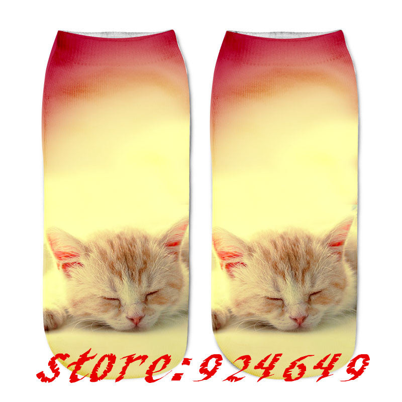 New 3D Printing Women Socks Brand Sock Fashion Unisex Socks Cat