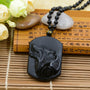 Myadstory - BLACK CARVED WOLF NECKLACE Necklace