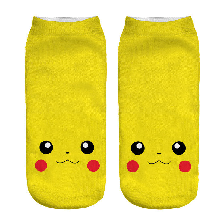 2016 New Arrival Kawaii Harajuku Pokemon Pikachu Socks 3D Printed Cartoon
