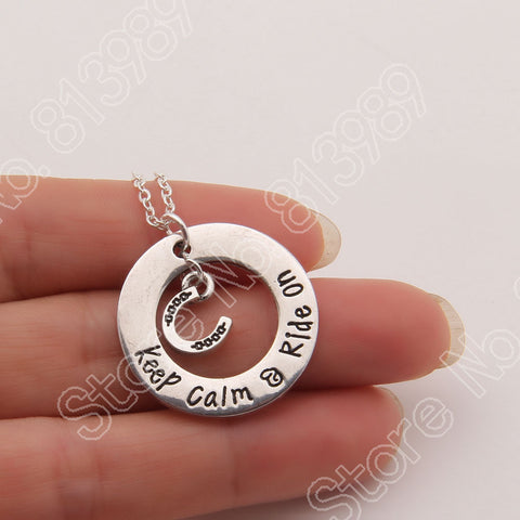 Myadstory - Keep Calm & Ride on Horse Choker Necklace Necklace
