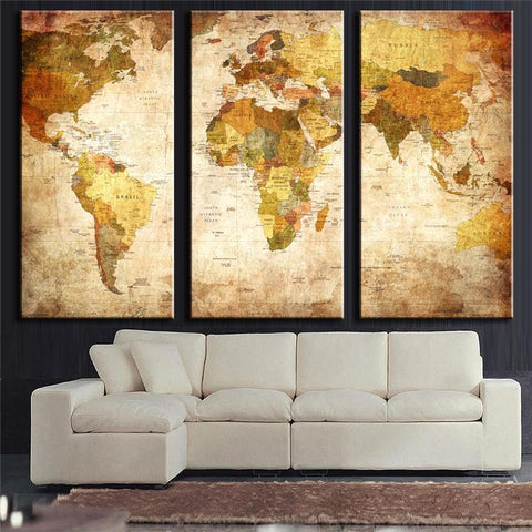 3 Panels Vintage World Map Canvas Painting  For Living Room