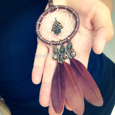 Myadstory - Feather Necklaces Dream Catcher Necklace