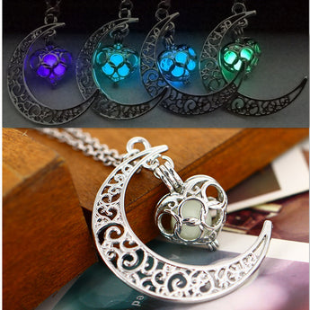 OnePerfectShop - Amazing Fluorescence Necklace moon love heart Glow in the Dark Necklace
