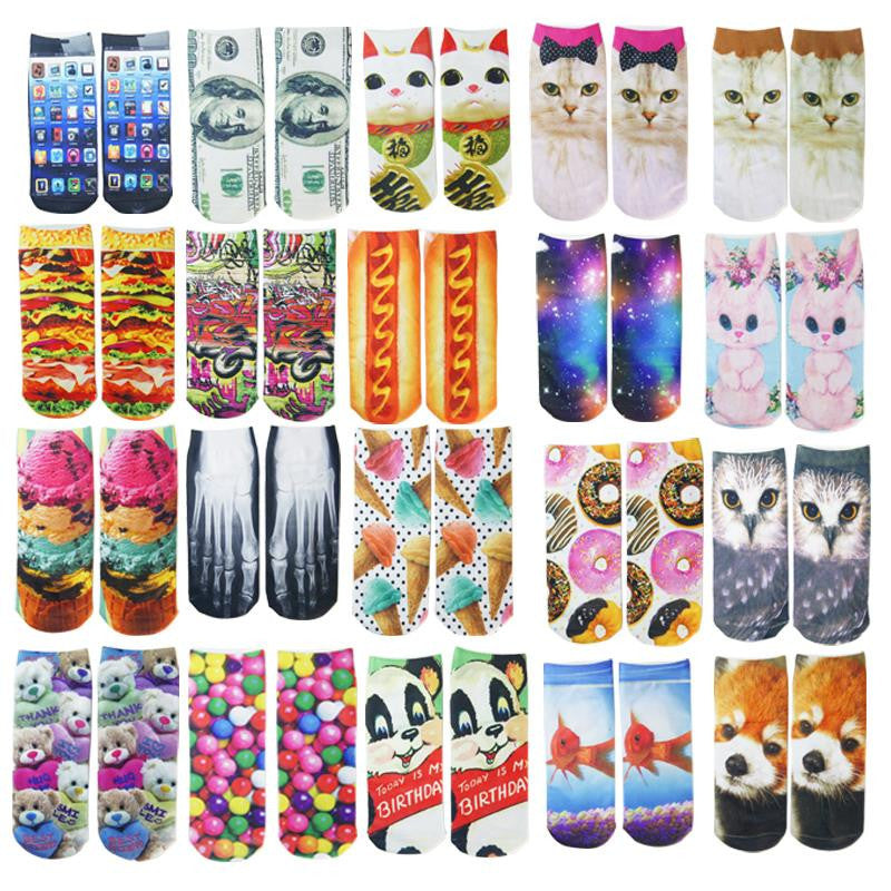 Cute 3D Socks beauty short Women socks printed funny socks womens cotton sock white cat Multiple Colors for girls soks