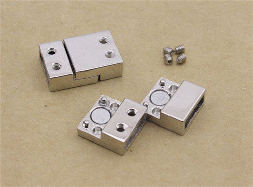 10 pcs/lot  inner size 3*10mm fitting flat leather rhodium Plated Magnetic Clasps Jewelry Findings F840