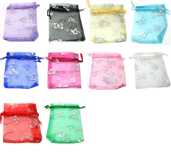 100PCS Mix Color Organza Jewelry Gift Box Wedding Gift Candy Pouch Bag with Butterfly 7*9cm,Free Shipping.