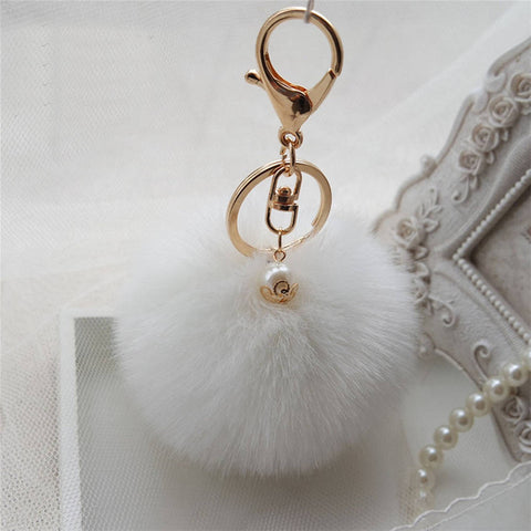 8eb8a98d3f New Key Rabbit Fur Ball PomPom Gold Plated Cell Phone Car Keychain Pendant bag  Charm 009