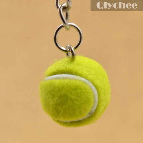 1 Pc New Cute Mini Tennis Shape Keychain Bag Phone Accessories Sports Style Key Chains