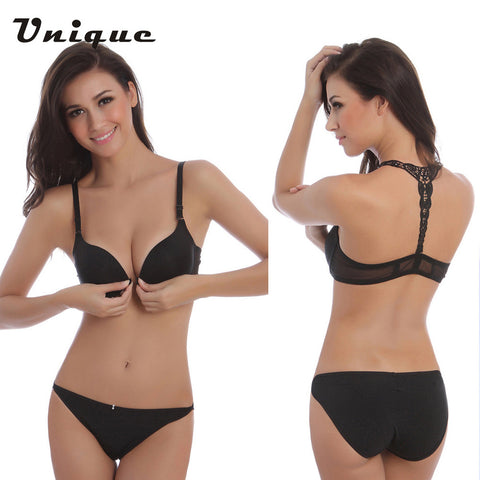 3769ffcbb1b 2016 New Fashion Sexy Bra Front Buckle Beauty Back Inspired Bra Set Smooth  Surface Push Up