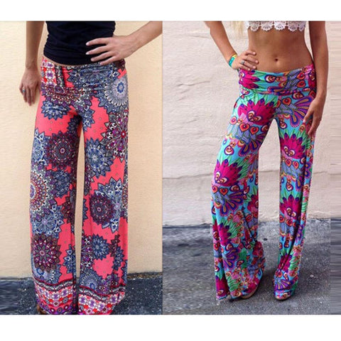 Women Pants Casual High Waist Flare Wide Leg Long Pants Palazzo Trousers Floral Plus Size Classic Hip Hop Cute Pant