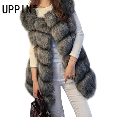 d7b08796a3a High quality Fur Vest coat Luxury Faux Fox Warm Women Coat Vests Winter  Fashion furs Women