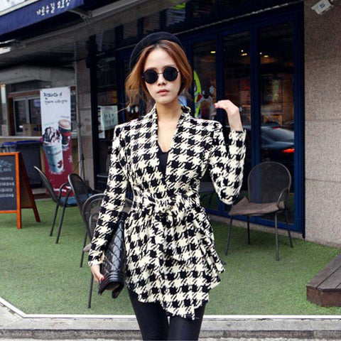 Open Stitch Belt Korean winter sweaters Women Houndstooth Cardigan Cotton blend girl blouse Slim Long Sleeve Coat Cami Outerwear