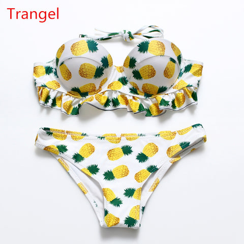 db28413f70 2016 Sexy Vintage Pineapple Bikini Set Brazilian Push Up Strapless  Swimswear Swimsuit Ruffle Flounce Bathing Suit