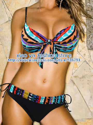 de81aab8b8 Free Shipping 2015 new Style Blue 2PC padded Push-up padded Womens bikini  swimwear swimsuit