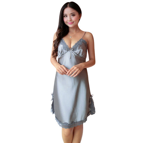 Ladies Sexy Silk Satin Night Dress Sleeveless V-neck Nightgown Lace  Sleepwear For Women 1d6137f4c