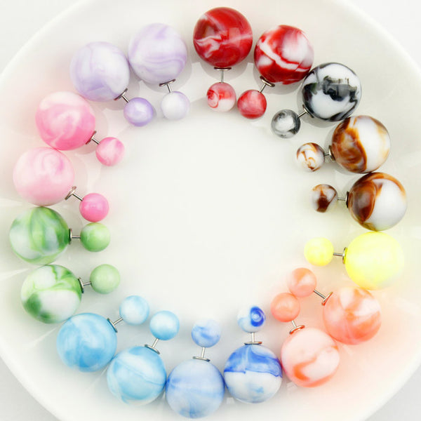 10 Pairs/lot Wholesale Earrings New Arrivals Fashion Pendiente Brinco Colorful  Women 16mm/8mm Double Pearl Earrings in Jewelry