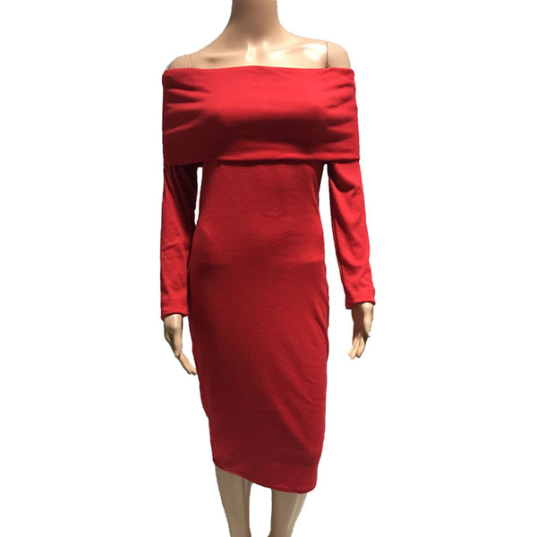 100% Good Feedback Sexy Off Shoulder Knitted Dress For Women Autumn Long Sleeve Slash Neck Women Dress Slim Bodycon Dress Ladies