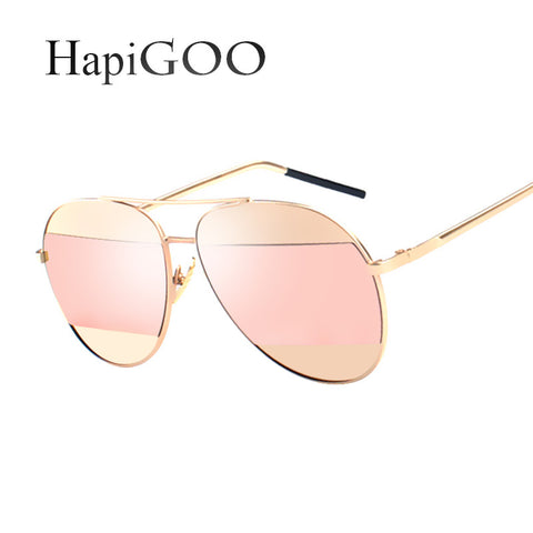 HapiGOO 2016 New SPLIT Women Pilot Sunglasses Fashion Women Brand Designer Coating Mirror Sun glasses Female Sunglasses UV400