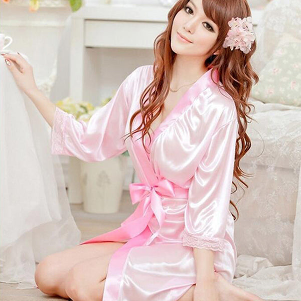 1 pc The New Women Sexy Satin Lace silk Robe Sleepwear Lingerie Nightdress G-string Pajamas bathrobe