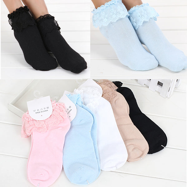 1 Pair 7 Colors Princess Girl Cute Sweet Women Ladies Vintage Lace Ruffle Frilly Ankle Socks CB