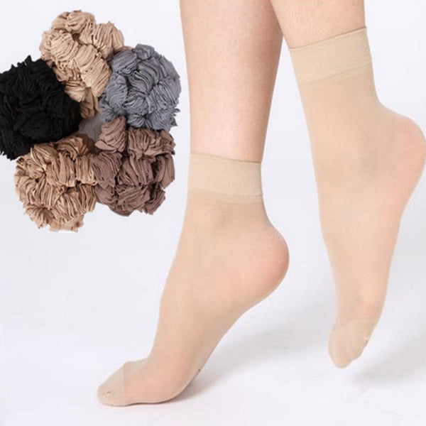 10 Pairs Socks 2016 Fashion Women's Socks Crystal Thin Transparent Thin Silk Socks Women In Summer Sokken Vrouwen 10 Colors #M