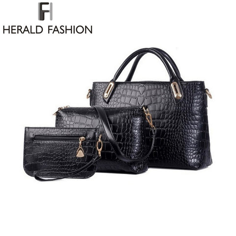 Herald HOT Women Handbags Sets PU Leather Handbag Women Messenger Bags Design Ladies Tote Bag Handbag+Shoulder Bag+Purse 3 Sets