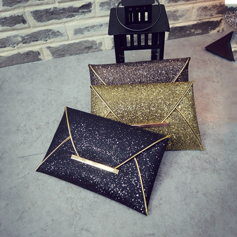 Fashion Envelope style Lady Sparkling Dazzling Sequins Clutch Bag Purse Evening Party Handbag Day Clutches 2016 Hot Sale