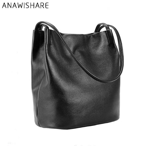 2017 Designer Women Leather Handbags Black Bucket Shoulder Bags Ladies Cross Body Bags Large Capacity Ladies Shopping Bag Bolsa