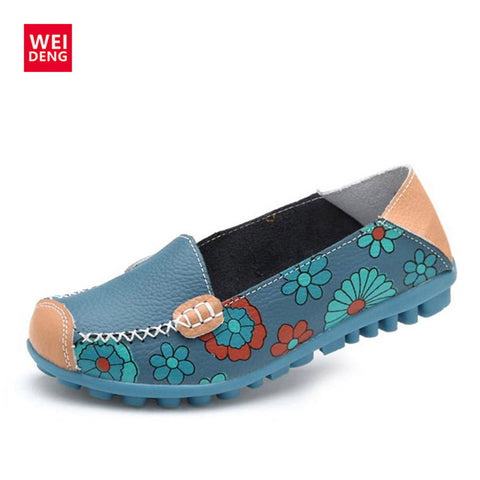 4 Color Women Casual Genuine leather Boat Comfortable Soft Gommino Flat Ventilation Fashion Printing Flat Slip on Shoes 35-40