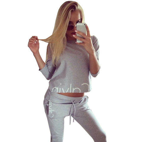 2016 Winter Ladies Sportsuit Brand Hoodies Set Tracksuit for women 2 Pieces Set Streetwear Sweatshirts Pullover Black Grey BTS