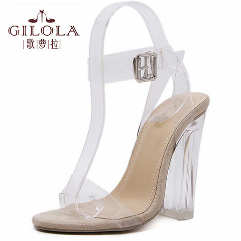 Sexy Shoes Gladiator Women Pumps Perspex Platform High Heels PVC Clear Crystal Classic Buckle Strap Fashion #Y0593009G