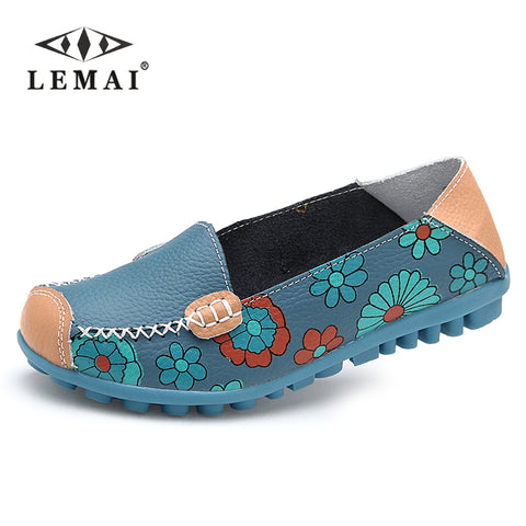 LEMAI 2017 Spring women flats shoes women genuine leather shoes woman cutout loafers slip on ballet flats boat shoes #3591