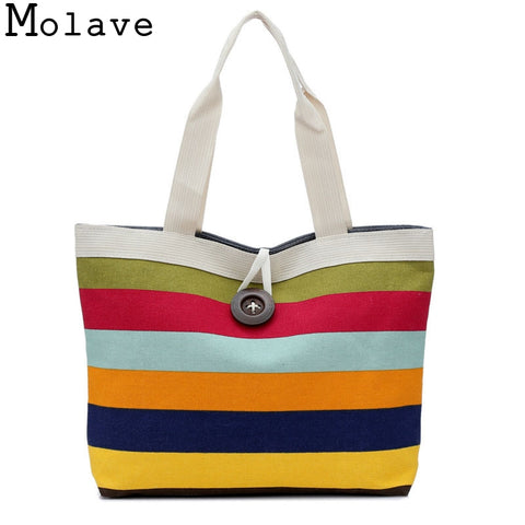 FTSTYLE Fashion Lady Shopping Striped Random Shoulder Canvas Bag Tote Purse Bag Handbags Beach Ladies Messenger Simple Handbag