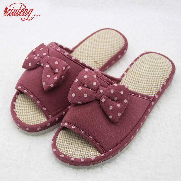 Xiuteng Candy color Warm Home Slippers Women Bedroom Winter Slippers Cartoon Bowtie Indoor Slippers Cotton Floor Home Flax Shoes