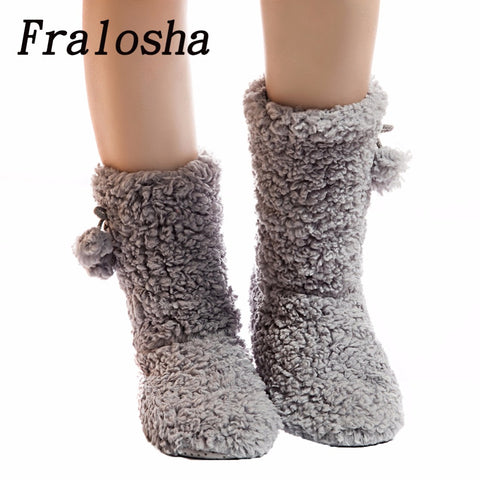 FRALOSHA Thick Plush Warm Indoor slippers Floor Shoes Women's Cotton-padded Shoes Non-slip Soft Bottom Home Shoes slippers