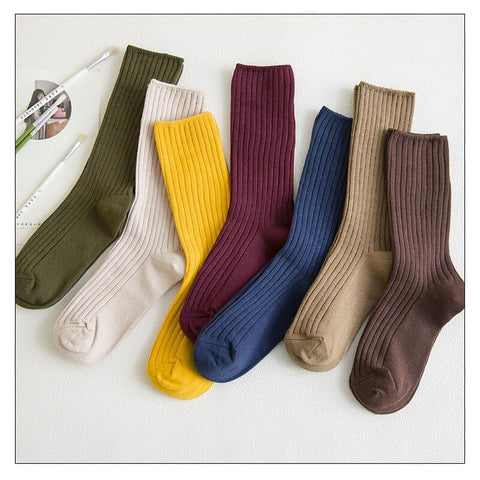 New Arrive Harajuku Retro Women Cotton Loose Socks for Autumn Winter In Tube Korean Pure Color Yellow Designer Christmas Cute