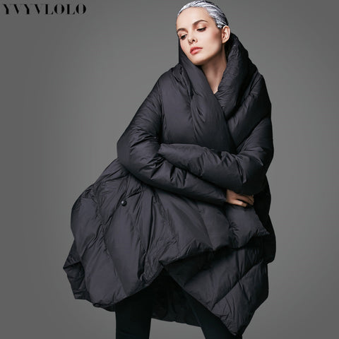 1f86d02e1c7c4 YVYVLOLO Women  39 s Winter Jacket 2017 New Temperament Fashion Cloak Loose parka  women