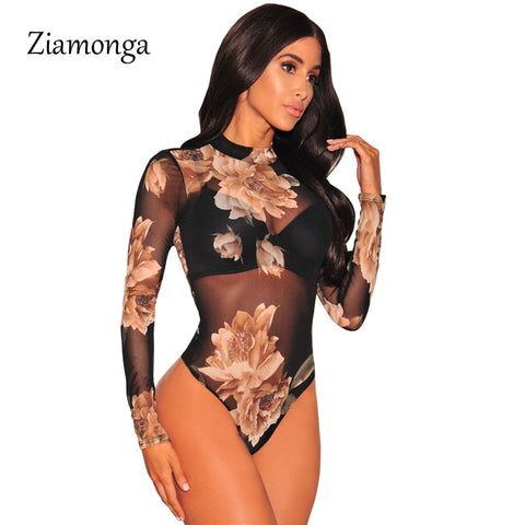 Ziamonga Women Leopard Print Mesh Bodysuits Rompers Lady Female Sexy Long Sleeve Night Club Body Suits One Piece Overalls C2914