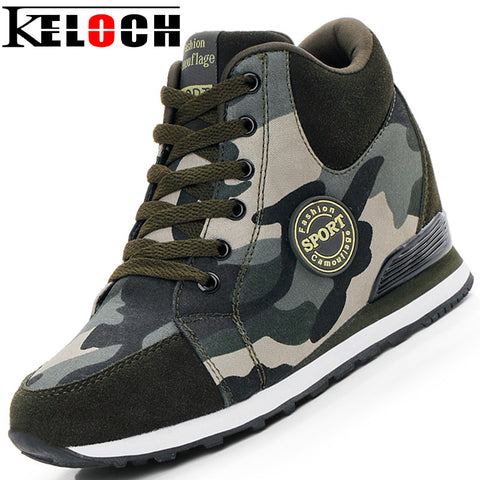 Keloch Female Casual Shoes 2017 Autumn Winter New Brand Fashion High-Top Camouflage Women Shoes Comfort Heighten Shoes
