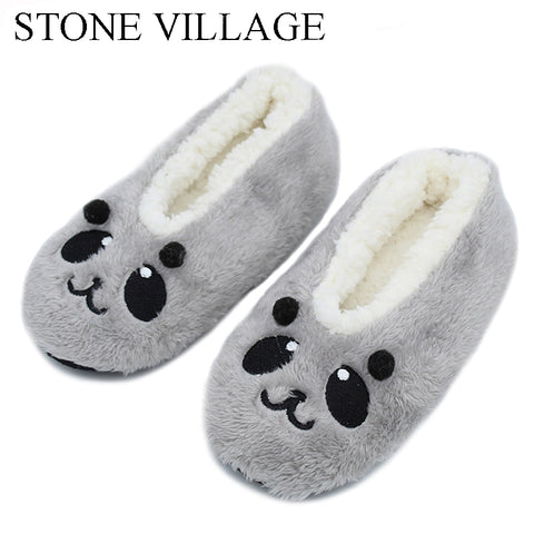 cartoon cute  2017 Indoor Home Slippers Warm Soft  Plush slippers  Comfortable Indoor Fur Slippers Striped Cute Women Shoes
