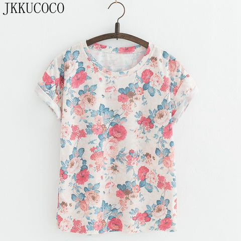 095eed968ceb47 JKKUCOCO New Style Flowers printing t-shirts Cotton t shirt Women Tops  Short Sleeve T