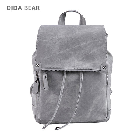 826675a5ce DIDA BEAR Brand Women Leather Backpacks School Bag for Teenage Girls Female  Fashion Rucksack Mochila Grey