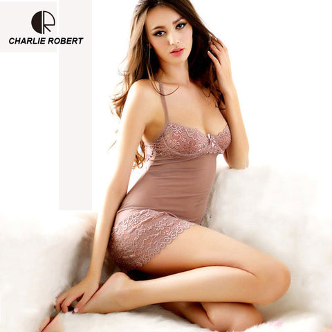 f34e64ce508 CR Lace Dress Sexy Sleepwear Female Temptation Women  39 s Summer Lace  Nightgown Spaghetti