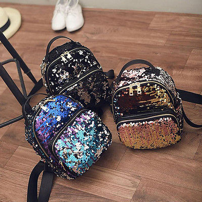 Women Girls New Backpack Fashion Sequins PU Leather Rucksack Shoulder  School Bag 326a0c5755
