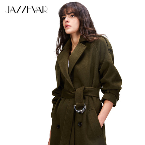 JAZZEVAR 2017 Autumn/winter New Women's Casual wool blend trench coat oversize Double Breasted X-Long coat with belt