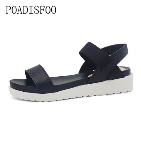 POADISFOO 2018New Spring Summer Women sandals female robe thick platform buckle with Roman light Black sandals  shoes  .HYKL-810