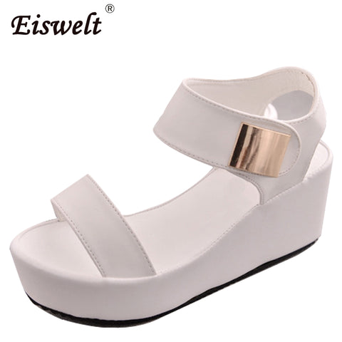 EISWELT Woman Sandals 2017 Summer Women Concise Platform Open Toe Casual Shoes Woman Fashion Thick Bottom Wedges Sandals #ZQS054
