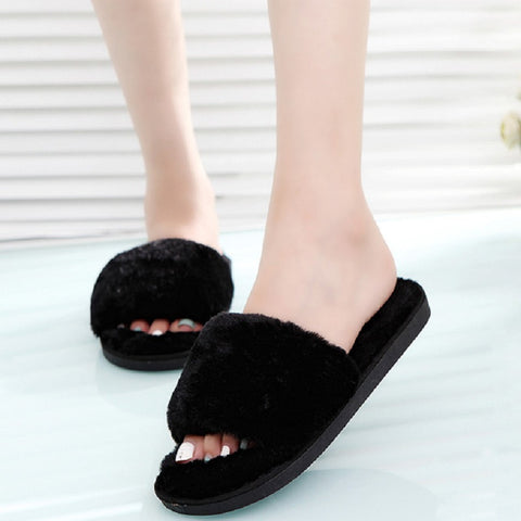 Designer Fluffy Fur Women Winter Slippers Female Plush Home Slides Indoor Casual Shoes Chaussure Femme