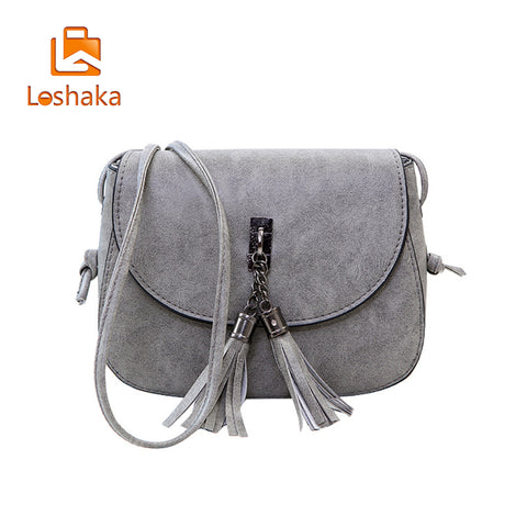 bf4953c0b5 Loshaka Women Tassel Messenger Fashion PU Leather Bags Woman Handbag Small  Shoulder Bag Casual Flap Women