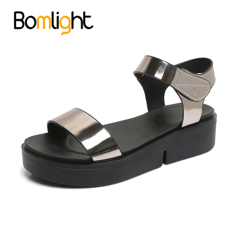 Bomlight 2017 Summer Gladiator Women Sandals Hook Loop Mujer Shoes Casual Sandals Women PU Leather Shoes